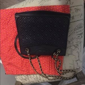 Navy blue quilted Tory Burch Bag